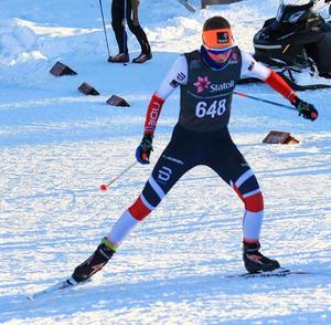 Mathilde i god driv under NorgesCup-rennet på Beitostølen i begynnelsen av januar.