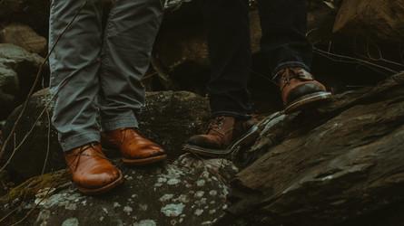 Hiking boots on rocks.
