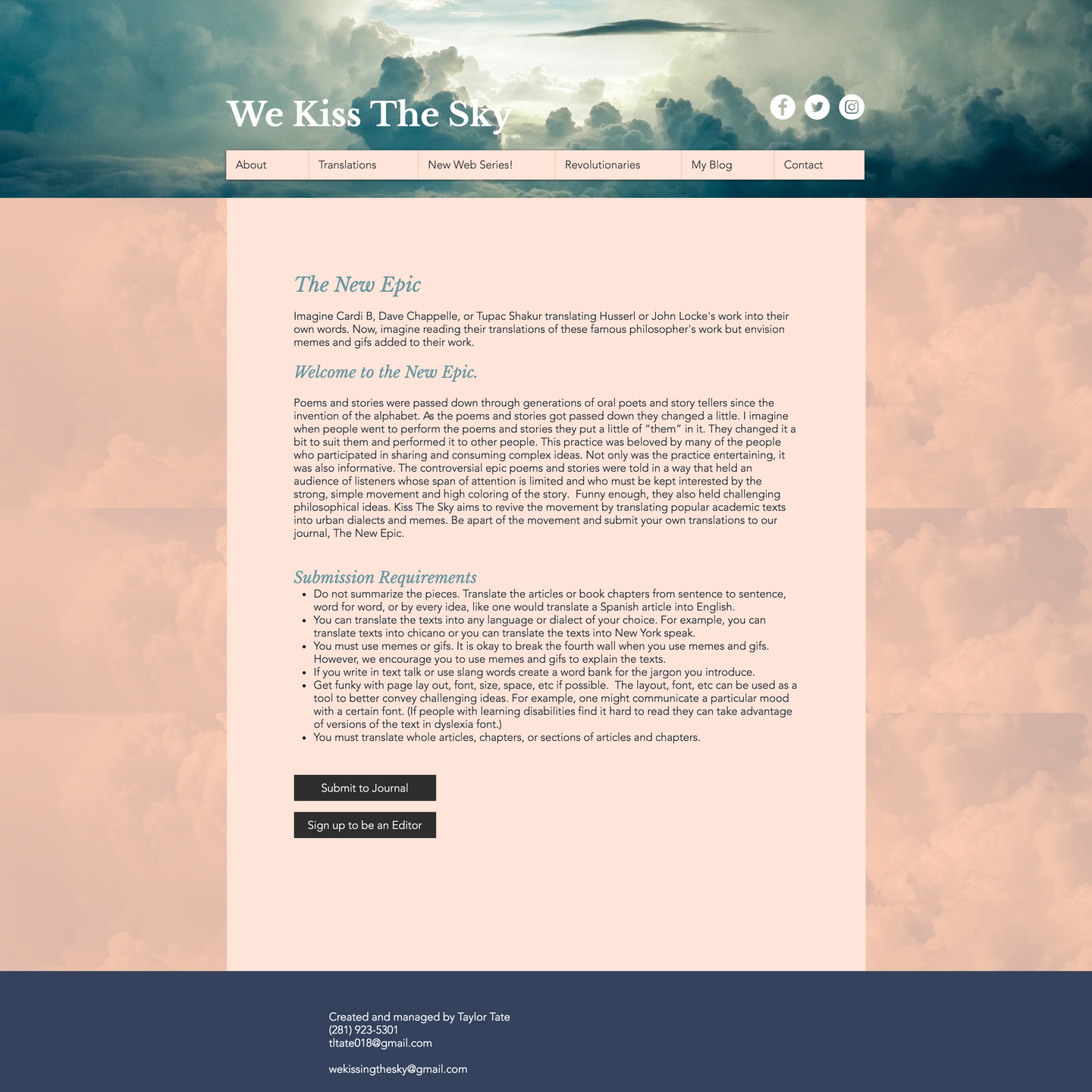 Submission page for dialogues. Its light pink with a blue header, dark footer. Left aligned, dark text, black buttons.