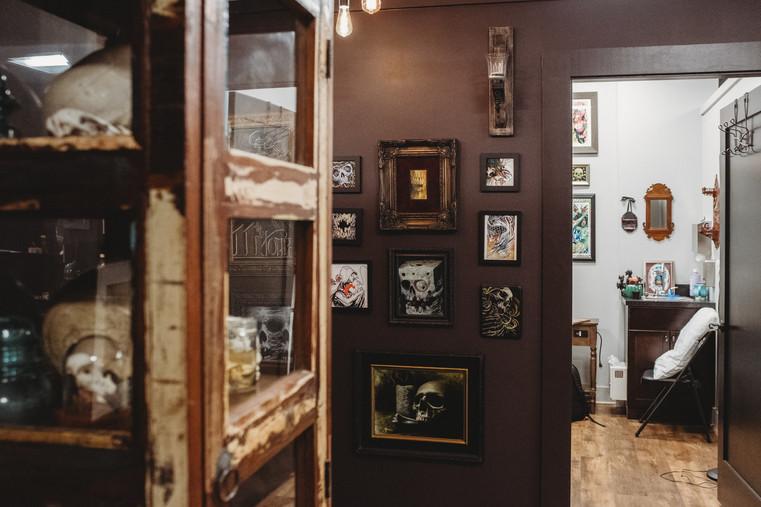 Hallway at 9th Realm custom tattoo shop