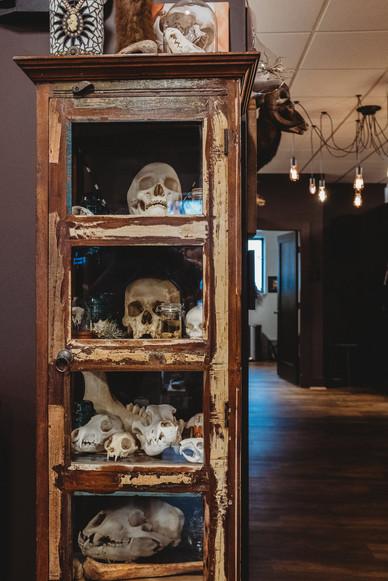 Tall case of skulls