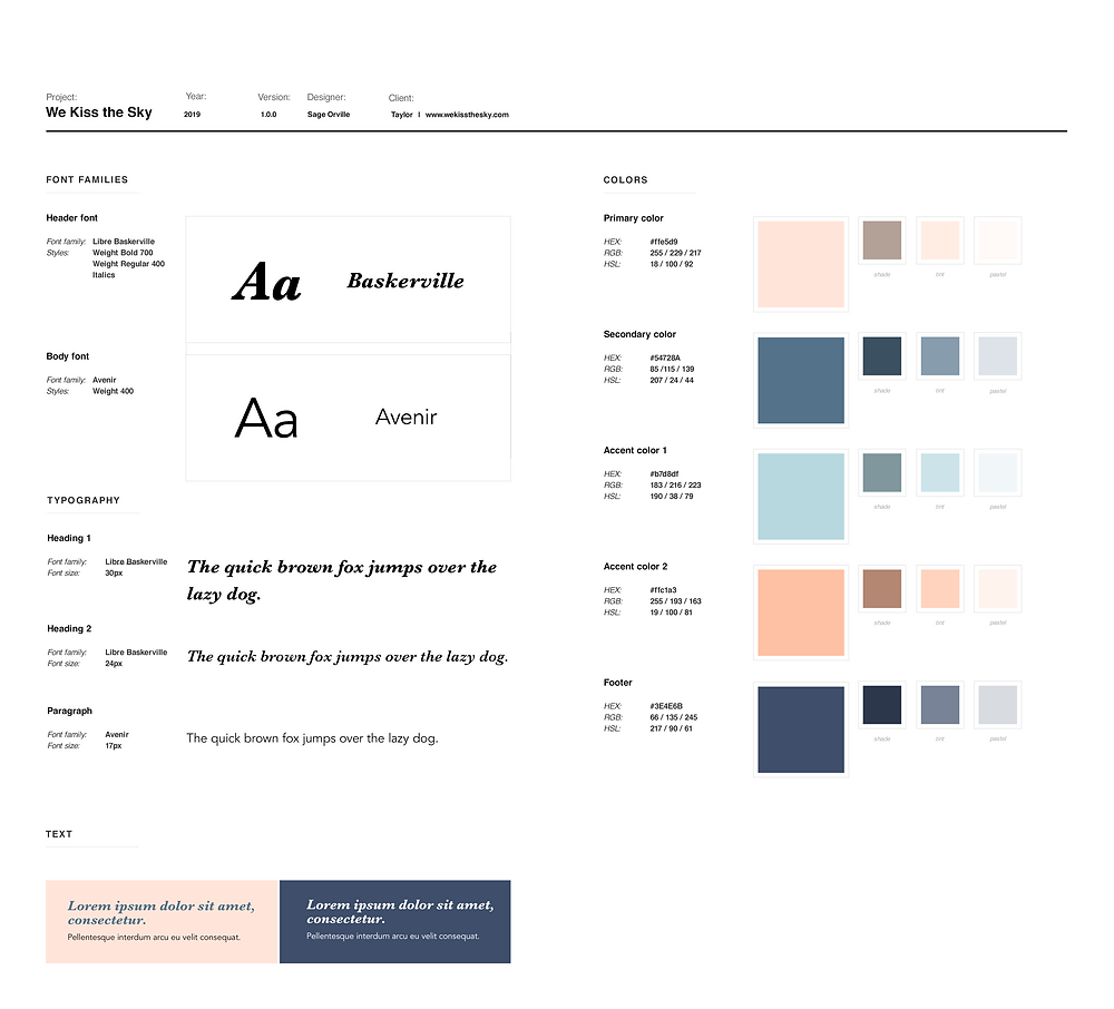Style guide for the website We Kiss the Sky. It shows the fonts used (Baskerville and Avenir), the heading stylings, and the color choices used. The colors used are mostly peaches, navy's, and many blue and pink pastels.