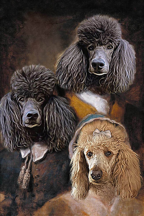 Three poodles painted as the Noble Trio. They're all looking forward with a dark brown background and renaissance clothes