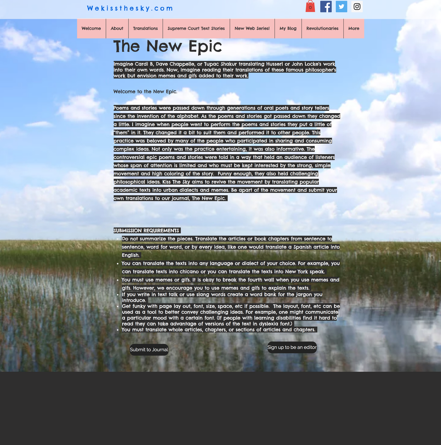 We Kiss the Sky page with a sky and field background, white text highlighted black. It's very hard to read.