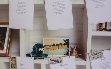 Campy wedding decorations: table settings hanging near postcards, stuffed animals, and camping photos.