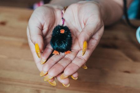 Cute fluffy key chain of a bird.