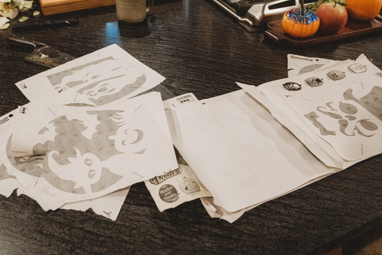 Paper outlines and stencils for pumpkin carving.