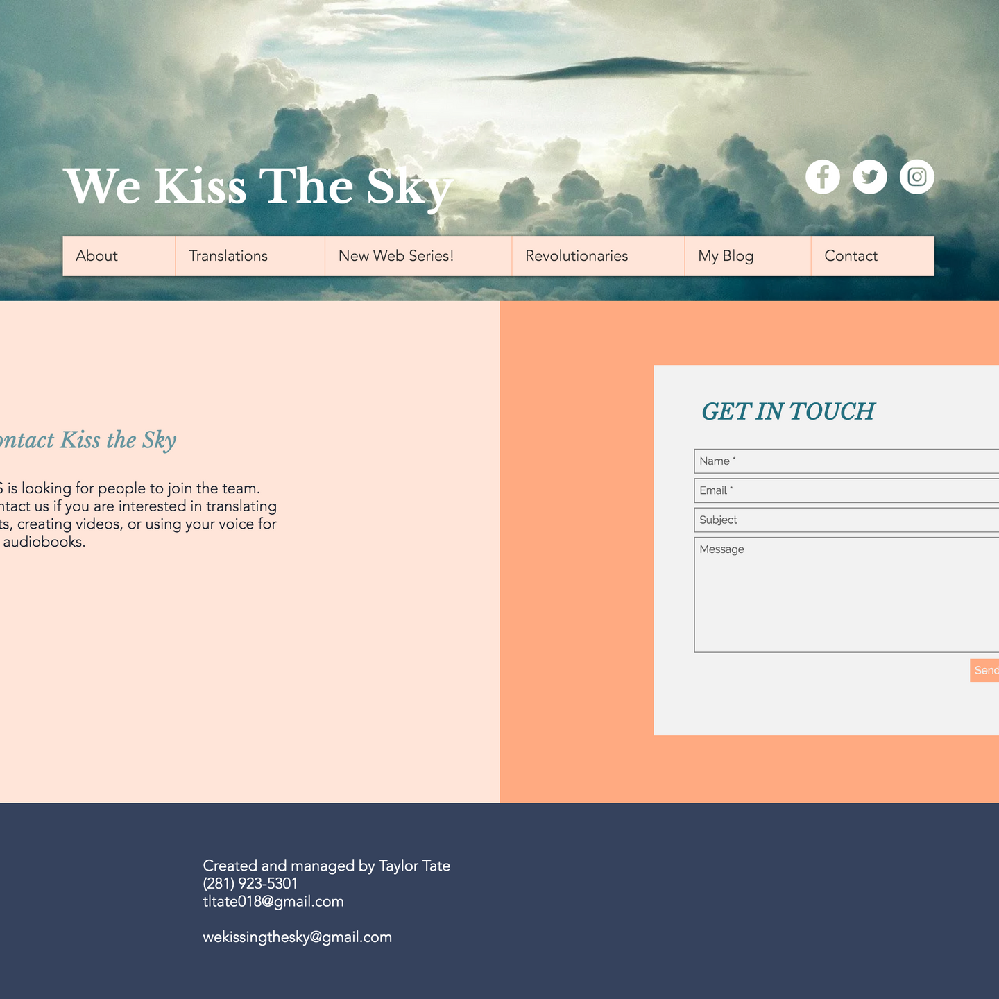 The contact page that uses bold accent colors and modular layouts.