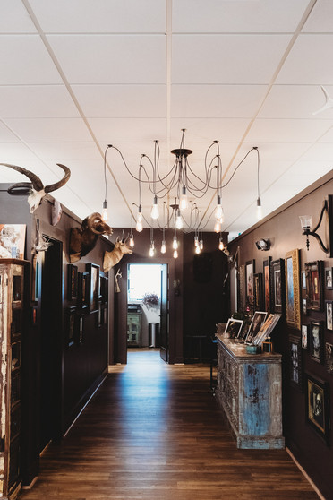 Shots of the inside of the shop with amazing multi light hipster chandelier