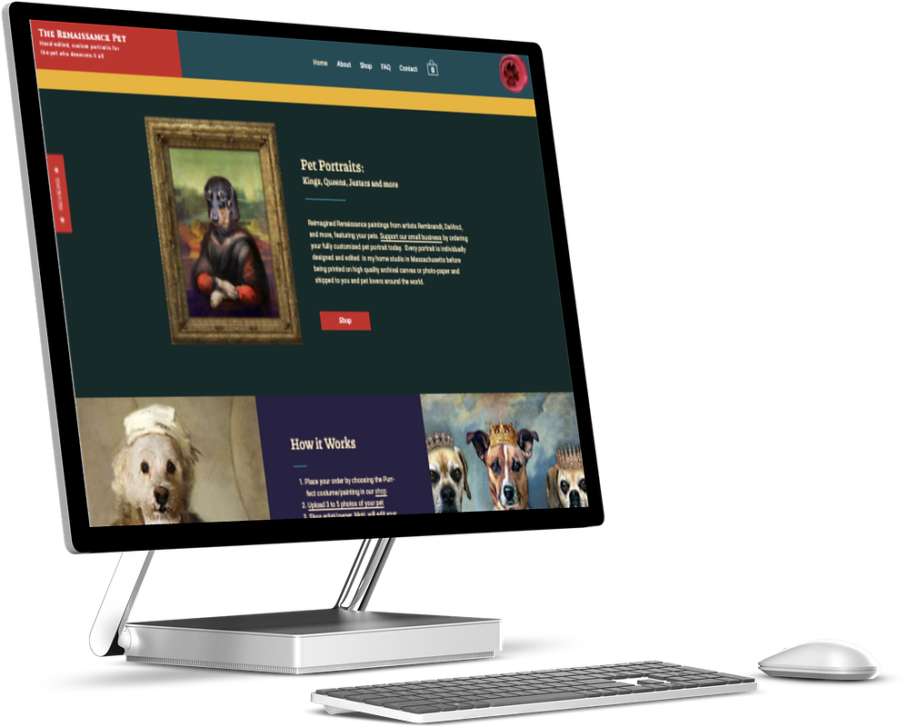 The home page of the relaunched site for The Renaissance Pet. It's displayed on a silver screen with a light grey background.
