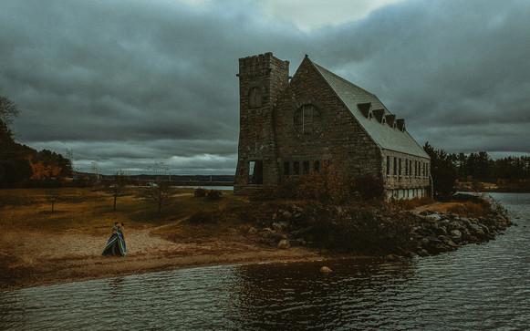Drone shot of West Boyleston's Old Stone Church.