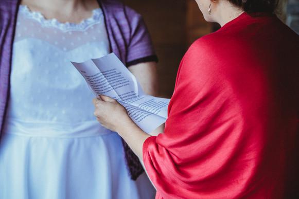 Close up of Sarah's vows.