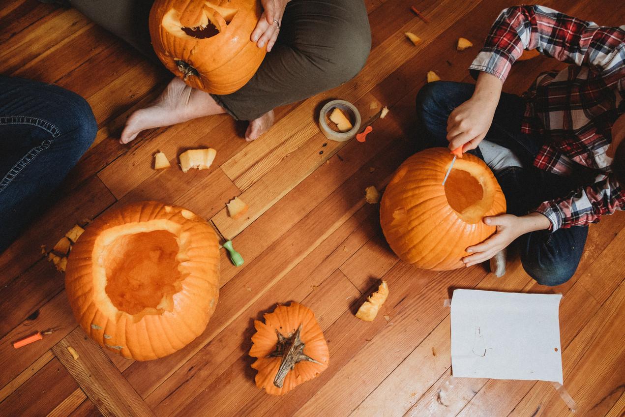 Overhead shot of pumpkin carving