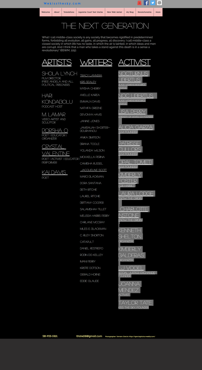 There is a multi column list of activists. The fonts in each column are different, thin and white of countless sizes and highlights.
