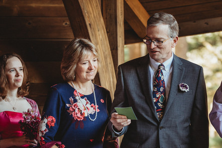 Parents of one bride read a short statement in honor of the couple.