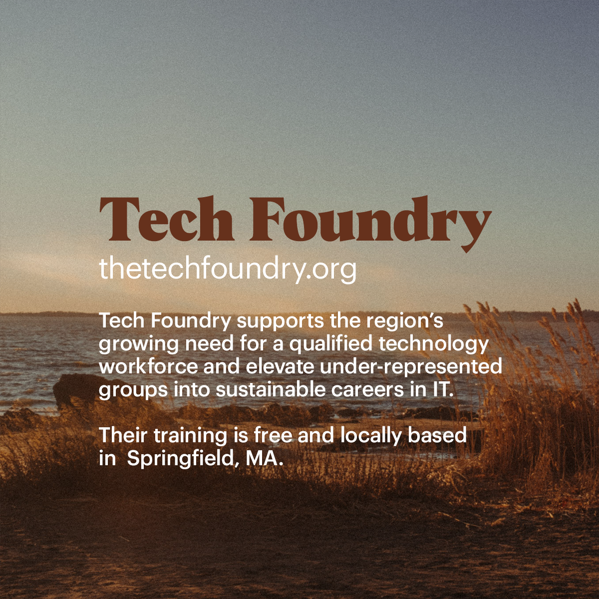 Tech Foundry Tech Foundry supports the region's  growing need for a qualified technology  workforce and elevate under-represented  groups into sustainable careers in IT. Their training is free and locally based in Springfield, MA.