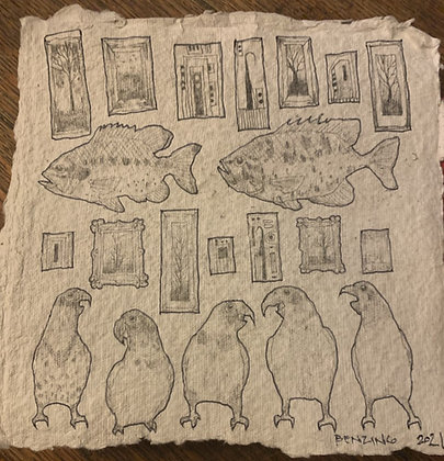 """""""Birds, Fish, and Paintings"""" drawing 8x8"""""""