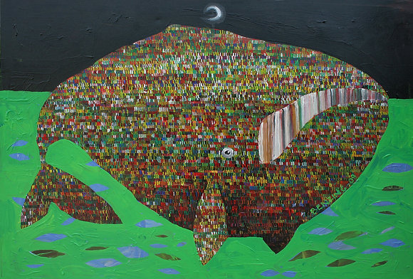 "Night Whale Wright Whale 24x30"" print"