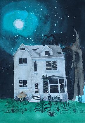 """Abandoned Moon House print 9x12"""""""