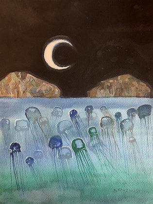 "Jellyfish Moon 9x12"""