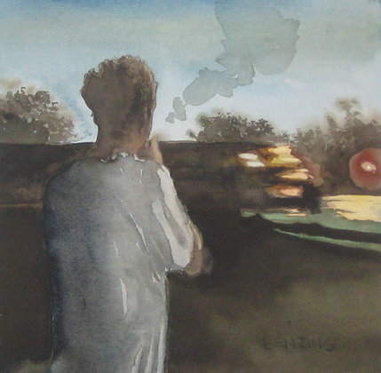 "Train Kid 8x8"" watercolor"