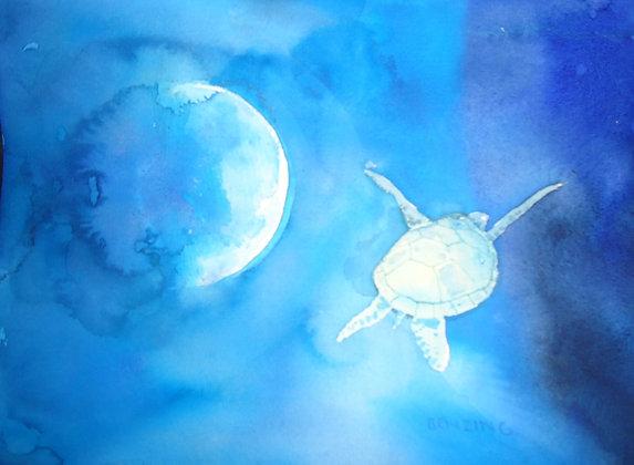 """Sea Turtle 9x12"""" watercolor"""