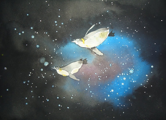 Space Penguins 9x12""
