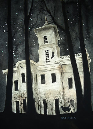 """Haunted House, Cat, Bats"" 8x10"" watercolor"