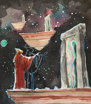 """Wizard Portal 8x8"""" watercolor"""