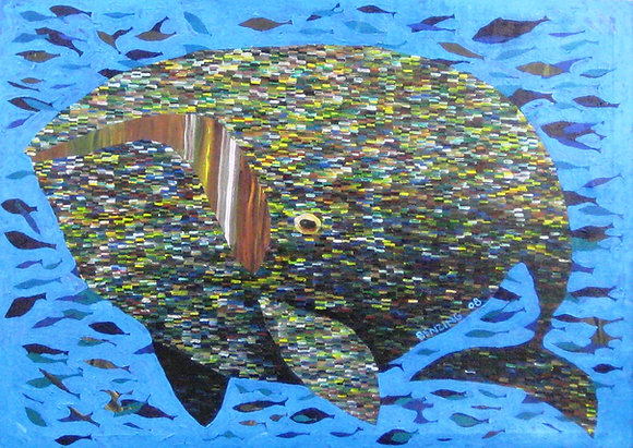 "Whale in School 9x12"" print"