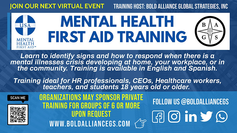 REGISTER HERE FOR MENTAL HEALTH FIRST AID TRAINING