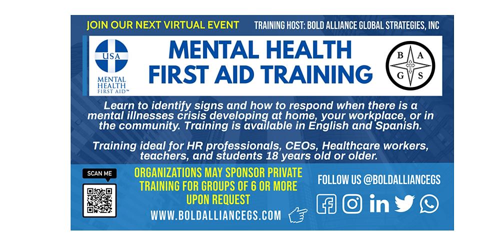 Mental Health First Aid Virtual Class