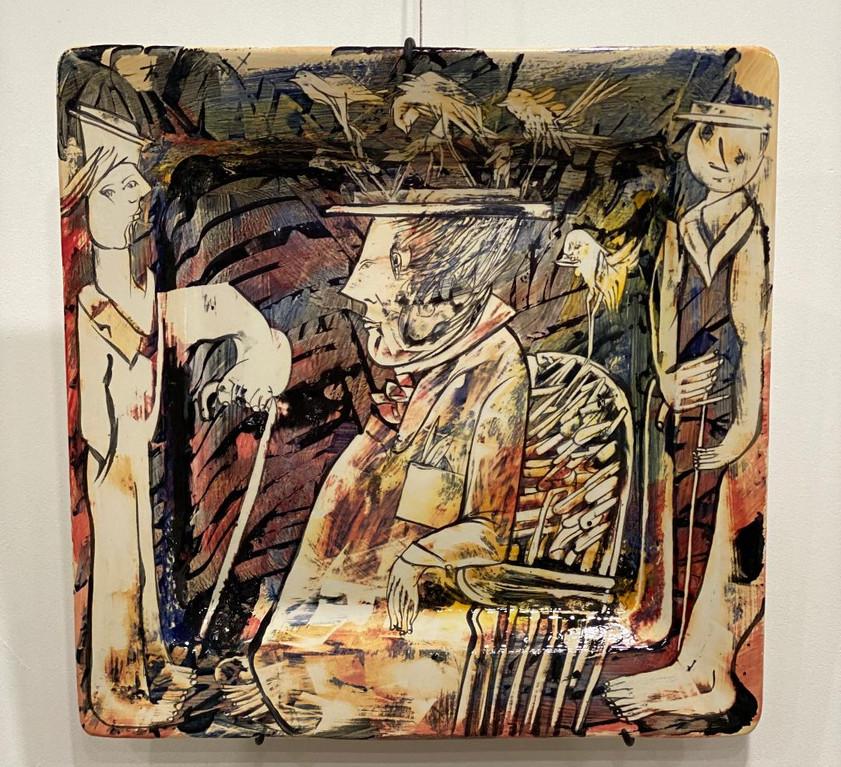"""El Cuidador de los gorriones - The Sparrow Caretator 18-1/2"""" x 18-1/2"""" Cerámica  Published : Pag 164 -Fredy Villamil Ceramic"""