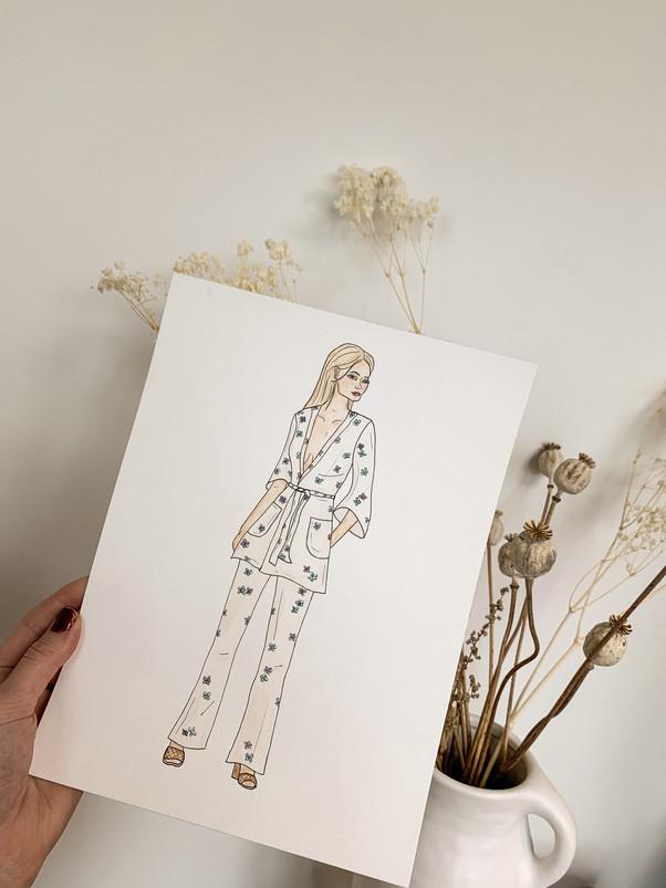 Sasha Lara suit, aquarelle