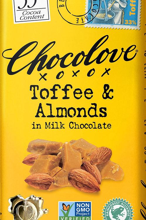 Chocolove - Toffee & Almonds Milk Chocolate Bar 3.2oz