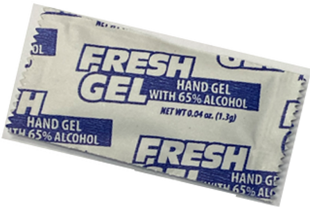 Hand Gel packets with 65% alcohol (minimum order of 10)