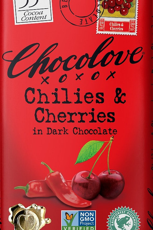 Chocolove - Chilies & Cherries Dark Chocolate 3.2oz