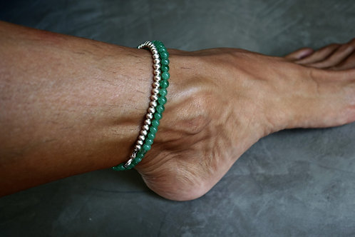 4 MM GREEN AGATE & STERLING SILVER ANKLE