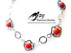 JPJ Professional Jewellery coral necklace in sterling silver and oxidized sterli