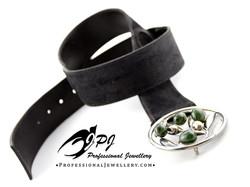 JPJ Professional jewellery sterling silver belt buckle in olive branch motif wit