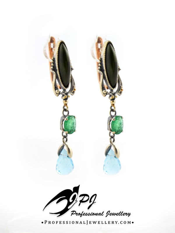 JPJ Professional Jewellery sterling silver and gold earrings with gemstones - to