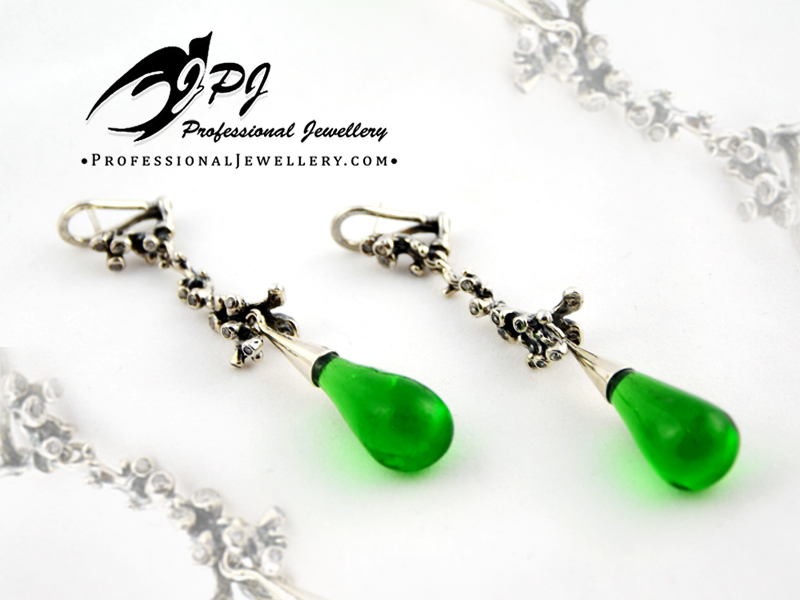 JPJ Professional Jewellery reef motif green bottle glass and zircon earrings in