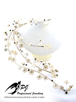 JPJ Professional Jewellery cherry blossom necklace in sterling silver with bisqu
