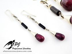 JPJ Professional Jewellery sterling silver onyx ruby gemstone earrings.jpg
