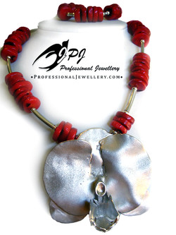JPJ Professional Jewellery sterling silver orchid flower necklace with coral b.j