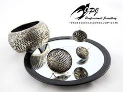 JPJ Professional Jewellery wild snake skin motif jewelry set in sterling silver