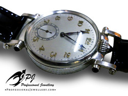 JPJ Professional Jewellery sterling silver wrist watch with natural sapphires.