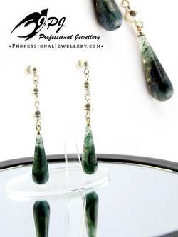 JPJ Professional Jewellery sterling silver earrings with moss agate - mocha ston