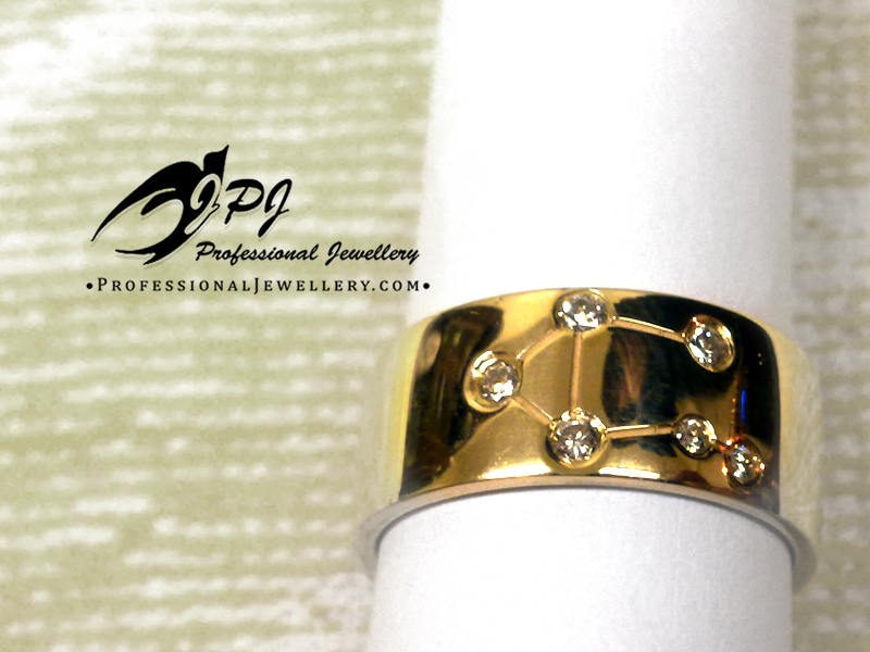 JPJ Professional Jewellery 14K yellow gold ring with diamonds and astrological m