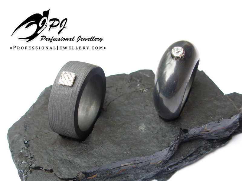 JPJ Professional Jewellery graphite rings - in white gold [square one] and plati